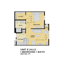 Assisted Living floor plan - 1 bed 1 bath